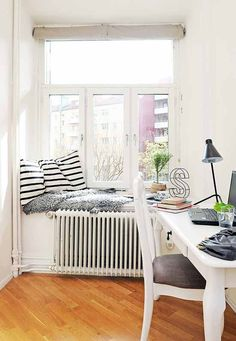 Small window seat. Small but could use this. Ideal for interior city flats.