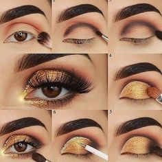 60 Easy Eye Makeup Tutorial For Beginners Step By Step Ideas(Eyebrow& Eyeshadow) - gold eyeshadow looks ideas step by step for beginners, eye makeup for prom, eye makeup look ideas , eye makeup ideas for blue eye. Prom Eye Makeup, Gold Eye Makeup, Eye Makeup Steps, Simple Eye Makeup, Smokey Eye Makeup, Makeup Eyeshadow, Eyeshadow Palette, Eyeshadow Ideas, Beauty Makeup