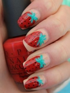 Oh I haven't painted my nails as strawberries in ages! This is a different way to how I usually do mine. I'll dig out a photo of my version. I like the neutral colour behind on these ones. Mine turn my whole nails into berries.