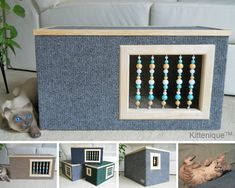 Handcrafted wooden cat furniture.  https://www.etsy.com/listing/224547745/gray-beaded-cat-house-wooden-cat?ref=listing-shop-header-0