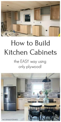 How to build your own kitchen cabinets the easy way with just plywood. Euro style cabinets built on a budget with this easy tutorial. Build your own kitchen on a budget without a bunch of fancy tools or complicated joinery. Kitchen Cabinets On A Budget, Building Kitchen Cabinets, Diy Cupboards, Kitchen Countertops, New Kitchen, Kitchen Decor, Diy Kitchen Furniture, Funky Furniture, Furniture Design