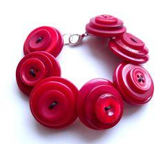 Poppy Red Button Jewellery Bracelet  £8.00