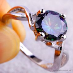 PRECIOSO ANILLO DE PLATA 925 CON UN GRAN TOPACIO MISTICO ENGASTADO,TAMAÑO DE 14,55 CTS / beautiful silver ring with a great mystic topaz