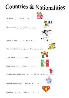 COUNTRIES AND NATIONALITIES - WORKSHEET 1 (A) | Teaching English ...