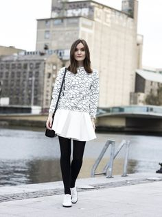 White formal outfit with oxford shoes