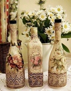 Ever wished you could decoupage on glassware; see our huge collections of glass bottles. Decoupage glass bottles are a cheap, easy way to recycle. Glass Bottle Crafts, Wine Bottle Art, Painted Wine Bottles, Diy Bottle, Decorated Bottles, Glass Bottles, Bottle Lamps, Holiday Crafts, Christmas Diy
