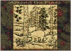 Among the Pines  Bear  Redwork Hand Embroidery Pattern by