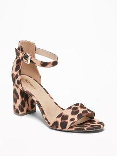 ad522dd6478 Old Navy Women s Faux-Suede Block-Heel Sandals Big Leopard Regular Size 10