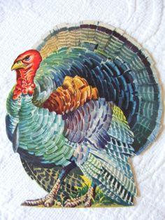 """1959 Dennison 'Turkey' Die Cut decoration. Four Sizes: 3 1/2"""", 6 3/4"""", 16"""", 24"""""""