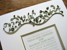 Wow this is a gorgeous way to frame a keepsake! Quilled Wedding Invitation by all things paper, via Flickr