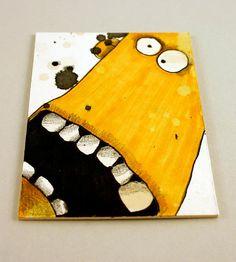 Yellow Monster Original ACEO by Aaron Butcher by Aaronbutcher, $5.00
