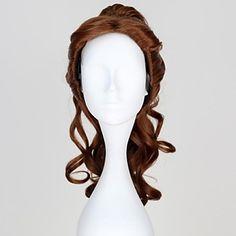 Die Schöne und das Biest Prinzessin Belle synthetische lange Curly Brown Cosplay Perücke mit Pferdeschwanz - EUR € 39.99
