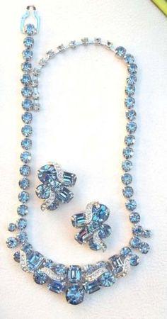 EISENBERG ICE Vintage Necklace & Earrings Powder Blue Ice Ribbon Rhinestones