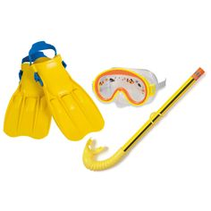 Ontdek de onderwaterwereld met deze vrolijke, gele duikset. In de set zit een duikbril, snorkel en flippers. De duikset is geschikt voor kinderen van 3-8 jaar met maat 35-37.