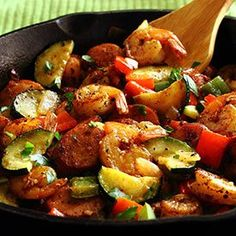 20-Minute Shrimp & Sausage Skillet Paleo Meal Recipe. (I changed a for things, but pretty much same recipes. 1/23/2015)