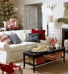 Classic Christmas living room decor for a smaller living room. This is so festive and cozy!