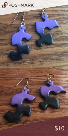 Purple and black airbrushed puzzle earrings Handmade puzzle earrings, perfect for autism awareness, polished with acrylic for shine and durability. All pieces are airbrushed and hand painted and one of a kind. Find a pair with your cutie'a favorite colors, or your own. Also perfect for unique and eclectic style! handmade Jewelry Earrings