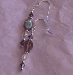 925 Sterling Silver Amethyst AB Czech Glass &  Swarovski Crystal  Dangle Earrings  Made with 10mm x 6mm 4 sided  glass  Czech glass beads that are Amethyst with an AB finis... #jewelry #earrings #beaded #colorful #women #earrings #dainty