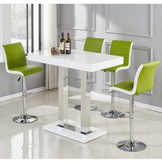 bba904cb8c1 Caprice Glass Bar Table In White High Gloss With Stainless Steel Support  And 4 Ritz Lime