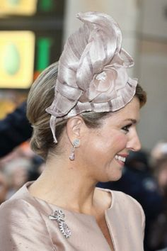 Dutch Queen Maxima's hat details as she smiles upon her arrival at 'Haus der Niederlande' on 27.05.2014 in Muenster, Germany.