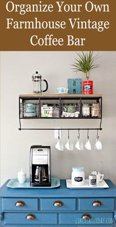 Colorful, Farmhouse Vintage Coffee Bar