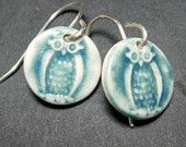 Porcelain Earrings Owls In Peacock With Sterling Silver Earwires