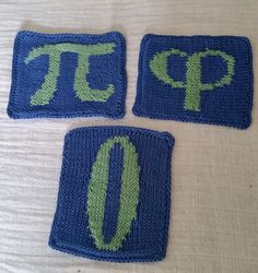 Free Knitting Pattern for Mathematical Underdogs Coffee Coasters - 6 coasters including Pi, Phi φ (golden ratio), Zero 0, and (not pictured) Epsilon ε (a positive number tending toward but never reaching Zero), e and sqrt(-1). Designed by Lina Wolf. Pictured project by helenbee21
