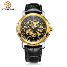 73.96$  Watch here - http://alirri.worldwells.pw/go.php?t=32659882728 - STARKING Luxury Mechanical Hollow Dress Watches Diamond Men Leather Wristwatch Automatic Gold Watch AM0189 moda hombre roleingly 73.96$