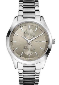 awesome Guess Men's Quartz Watch with Beige Dial Analogue Display and Silver Stainless Steel Bracelet Gents Watches, Sport Watches, Cool Watches, Rolex Watches, Latest Watches, Tiffany Jewelry, Opal Rings, Stainless Steel Bracelet, Quartz Watch