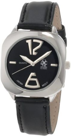 Golden Classic Women's 5148_Black Bedrock Futuristically Retro Style Black Watch Golden Classic. $19.80. Water-resistant. Rounded square silver bezel; mineral crystal. Highest standard japanese parts quartz movement. Black dial with silver hour markers and hands. Black synthetic leather band with adjustable silver buckle. Save 45%!