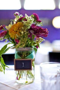 floral arrangement in mason jar