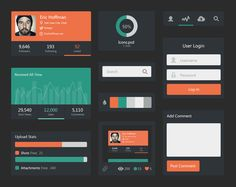Dark UI KIT Minimal - Flat Dezain - Flat design showcase & freebies ressources for webdesigner