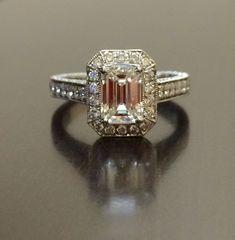 Platinum Diamond Engagement Ring- Art Deco Pave Set GIA Certified Emerald Cut Diamond Ring by DeKaraDesigns on Etsy