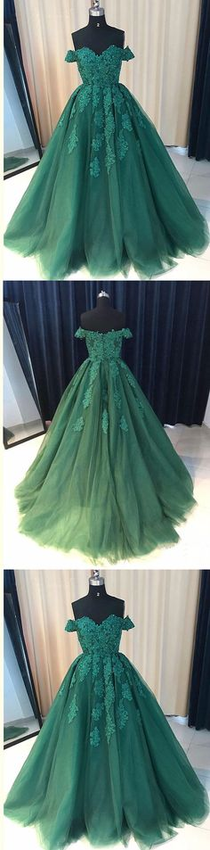 Off Shoulder Emerald Green Lace A line Long Custom Evening Prom Dresses by MeetBeauty, $159.78 USD