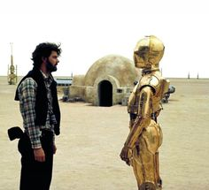 George Lucas and Anthony Daniels, C-3PO Star Wars