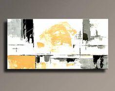 """48"""" grande peinture abstraite sur toile contemporain moderne Art blanc gris noir jaune Wall Decor Home Decor - sans étirement - YG07i6"""