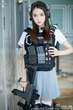 Amazing WTF Facts: Cute Asian Girls With Guns - Japanese Cosplay Armed Schoolgirls Cute Asian Girls, Cute Girls, Outdoor Girls, Military Women, Military Army, Girl Inspiration, Ulzzang Girl, Cosplay Girls, Japanese Girl