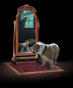 Second Place Winner for Paintings of Pets - Harold Shull, Title: Double Trouble - www.Art-Competition.net