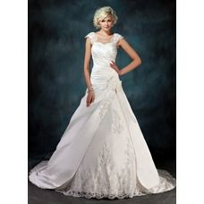 [US$ 256.49] Ball-Gown Sweetheart Chapel Train Satin Tulle Wedding Dress With Ruffle Lace Beading Flower(s)