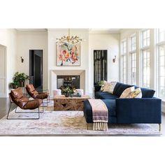 Home Interior, Living Room Interior, Home Living Room, Living Spaces, Blue Couch Living Room, Living Room Layouts, Small Living Room Layout, Narrow Living Room, Colorful Living Rooms