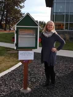 This forest green Little Free Library was installed at the Salk Middle School in Spokane, Washington on October 3, 2018. Also in the photo is the school's new librarian, Michele Meek, who instigated the project. Go Spartans! Built by Little Library Builder of Spokane. littlelibrarybuilder.com Little Free Libraries, Little Library, Free Library, Spokane Washington, Middle School, October, Green, Art, Teaching High Schools