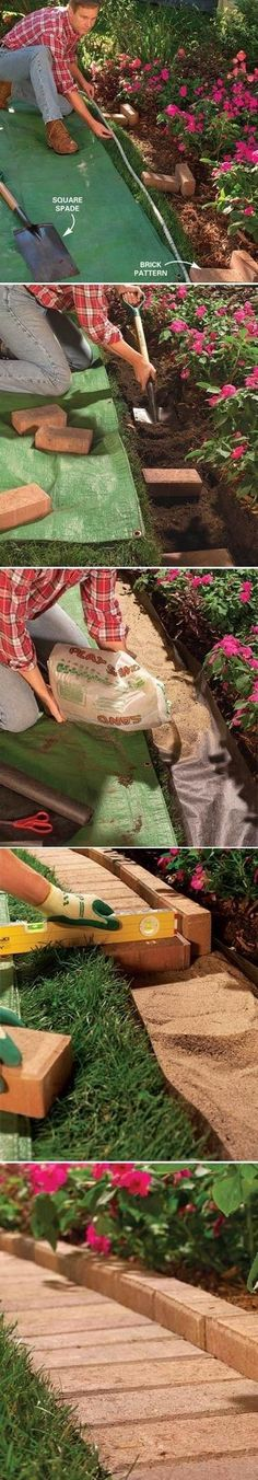 The Best Garden and Lawn Edging Ideas & Tips Brick garden edge that you can run a lawn mower over Garden Yard Ideas, Garden Beds, Lawn And Garden, Garden Projects, Outdoor Projects, Backyard Ideas, Garden Path, Backyard Pavers, Diy Garden