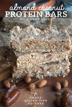 Almond Coconut Protein Bars with Hemp Seeds - Running on Real Food - Almond Coconut Protein Bars with Hemp Seeds – Running on Real Food Almond Coconut Protein Bars with Hemp Seeds – Vegan, Gluten-Free, No-Bake Protein Snacks, Protein Cookies, Protein Bars, Vegan Snacks, Vegan Desserts, Raw Food Recipes, Gourmet Recipes, Healthy Recipes, Protein Muffins