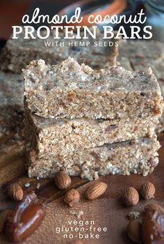Almond Coconut Protein Bars with Hemp Seeds - Vegan, Gluten-Free, No-Bake