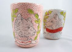 Handmade porcelain pot with hand painted bear by 7Sommer on Etsy https://www.etsy.com/listing/208942124/handmade-porcelain-pot-with-hand-painted