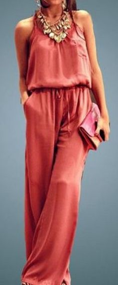 Love this Outfit! Gorgeous Color paired with Gold Accessories! Chic Solid Color Spaghetti Strap Wide Leg Loose Jumpsuit #Coral #Pink #Jumpsuit #Gold #accessories #Fall #Fashion #Trends #Ideas