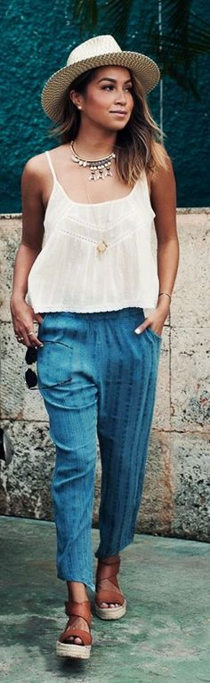 Blue Cool Cropped Pants by Sincerely Jules