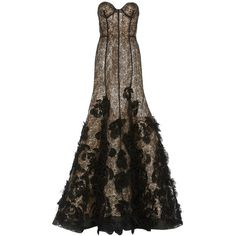 Oscar de la Renta Sweetheart Grid Lace & Sequin Embroidery Gown (54.185 BRL) ❤ liked on Polyvore featuring dresses, gowns, long dresses, oscar de la renta, floral gown, long lace evening dresses, floral lace gown, long lace dress and floral lace dress