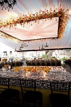 Suspended Wedding Centerpieces Floral Chandeliers via Belle The Magazine