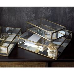 Clarus Small Brass Display Box in Home Accents | Crate and Barrel - Unique and classy card box. Can't stand those corny ones, at least this one can be re-purposed!